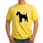 Christmas or Holiday Fox Terrier Silhouette Yellow