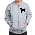 Christmas or Holiday Fox Terrier Silhouette Zip Ho
