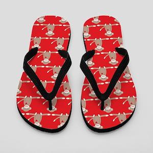 Sock Monkey Red Flip Flops