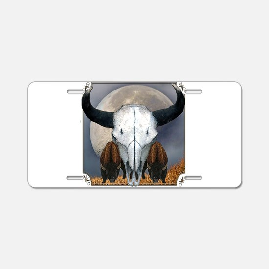 Buffalo skull 3 Aluminum License Plate
