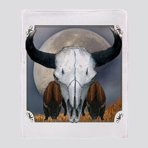 Buffalo skull 3 Throw Blanket