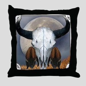 Buffalo skull 3 Throw Pillow