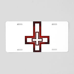 Inverted Cross Aluminum License Plate