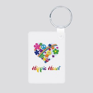 Hippie Heart Aluminum Photo Keychain