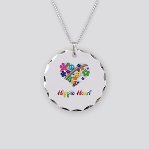 Hippie Heart Necklace Circle Charm