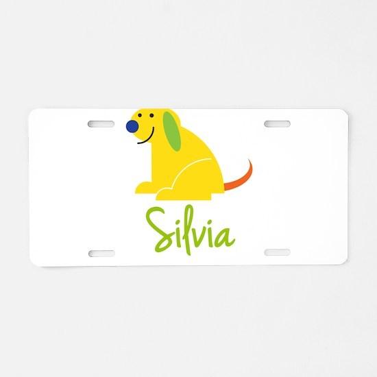 Silvia Loves Puppies Aluminum License Plate