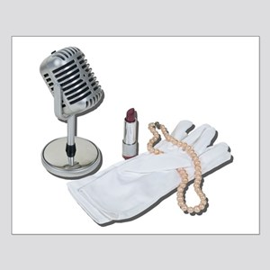 Microphone White Gloves Pearl Small Poster