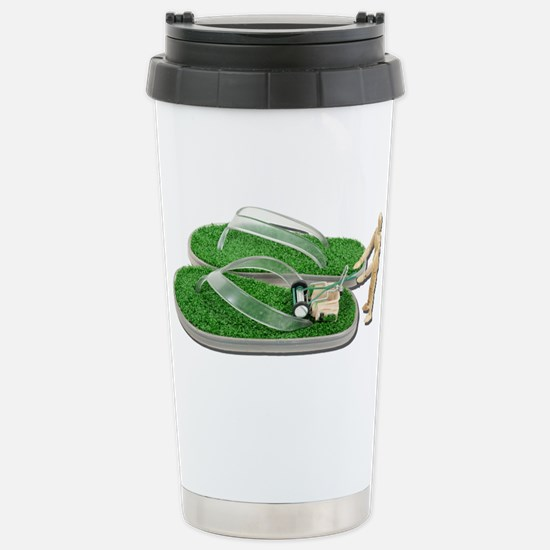 Mowing Grass Sandals Stainless Steel Travel Mug