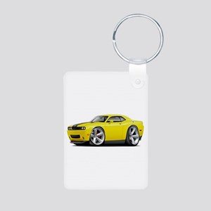 Challenger SRT8 Yellow Car Aluminum Photo Keychain