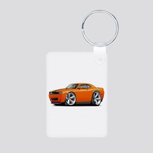 Challenger SRT8 Orange Car Aluminum Photo Keychain