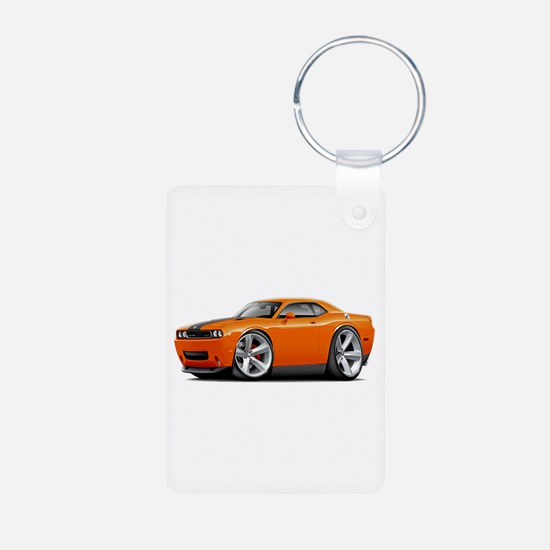 Challenger SRT8 Orange Car Aluminum Photo Keychain