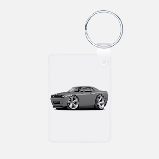 Challenger SRT8 Grey Car Aluminum Photo Keychain