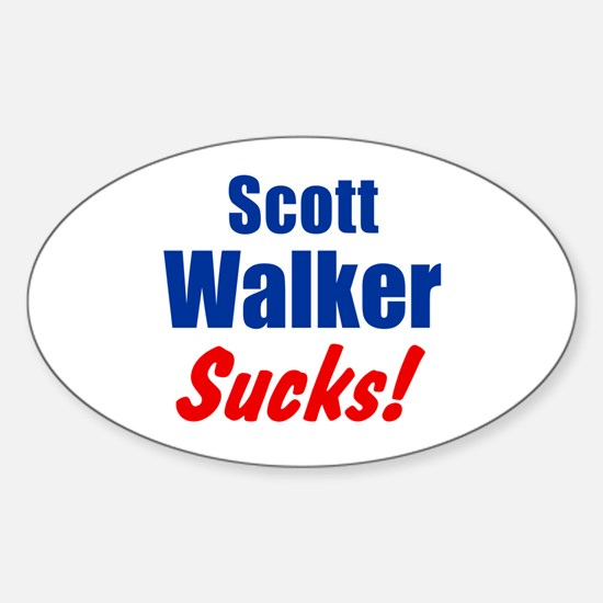 Scott Walker Sucks Sticker (Oval)