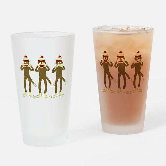No Evil Sock Monkeys Drinking Glass