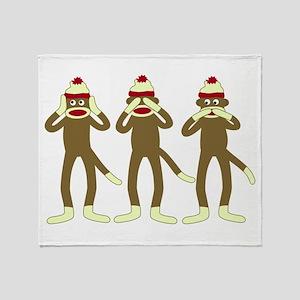No Evil Sock Monkeys Throw Blanket