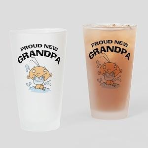 Funny Proud New Grandpa T-Shirts Drinking Glass