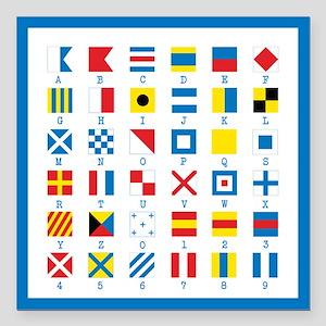 "Nautical Flags Square Car Magnet 3"" x 3"""