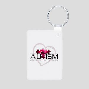 Autism Red Aluminum Photo Keychain