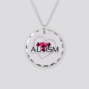 Autism Red Necklace Circle Charm