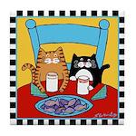 2 Cats & Fish CookiesTile Coaster