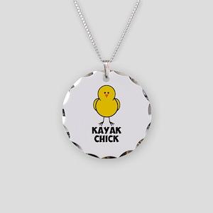 Kayak Chick Necklace Circle Charm