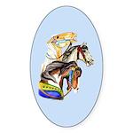 Carousel Horses Sticker (Oval)