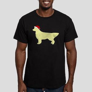 Golden Retriever Santa Men's Fitted T-Shirt (dark)