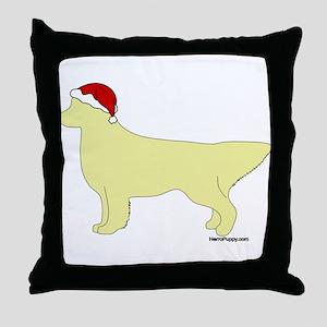 Golden Retriever Santa Throw Pillow