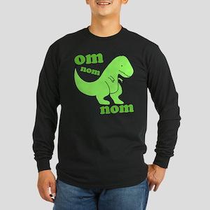 om NOM NOM dinosaur chomps Long Sleeve Dark T-Shir
