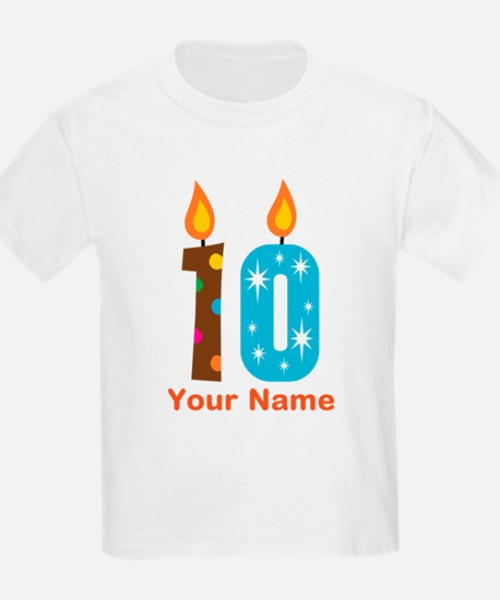 Custom 10th Birthday Candle T-Shirt