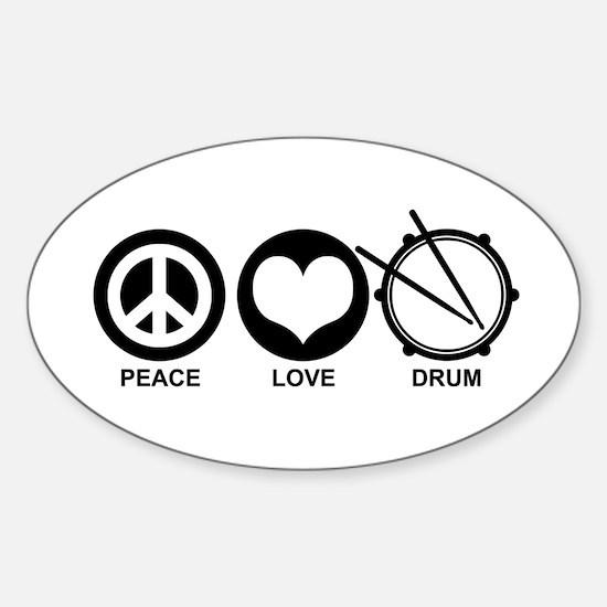 Peace Love Drum Sticker (Oval)