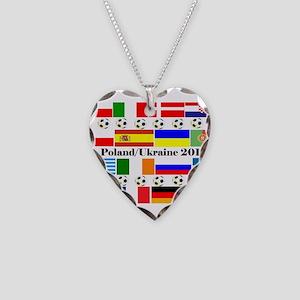 Football Flag Design Necklace Heart Charm