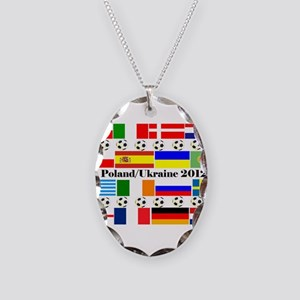 Football Flag Design Necklace Oval Charm