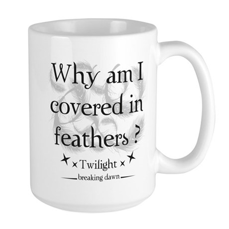 Why am I covered in feathers? Large Mug