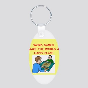 word games Aluminum Oval Keychain