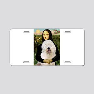 Mona's Old English Sheepdog Aluminum License Plate