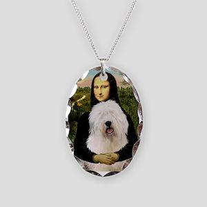 Mona's Old English Sheepdog Necklace Oval Charm