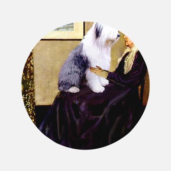 "Mom's Old English Sheepdog 3.5"" Button"