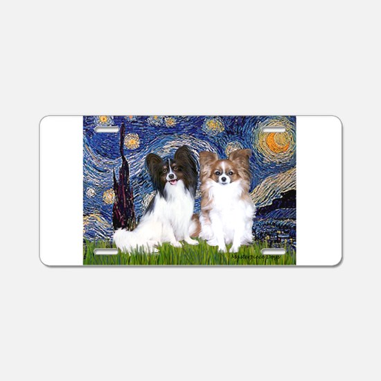 Starry / 2 Papillons Aluminum License Plate