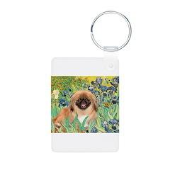 Irises / Pekingese(r&w) Keychains