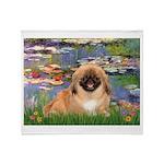 Lilies / Pekingese(r&w) Throw Blanket