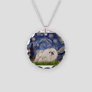 Starry / Pekingese(w) Necklace Circle Charm