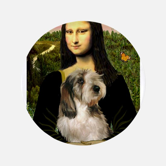 """Mona Lisa / PBGV 3.5"""" Button"""