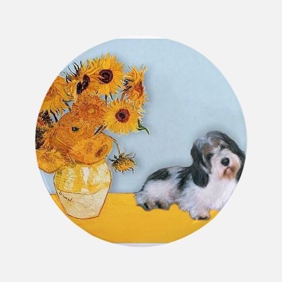 "Sunflowers/PBGV 3.5"" Button"