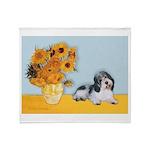 Sunflowers/PBGV Throw Blanket