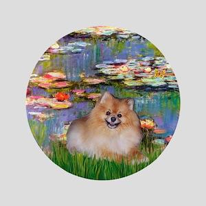 "Lilies2/Pomeranian #4 3.5"" Button"