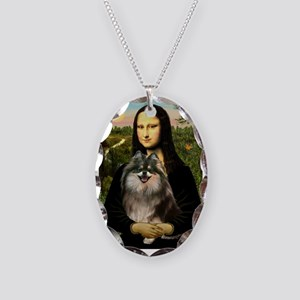 Mona and her Parti Pom Necklace Oval Charm