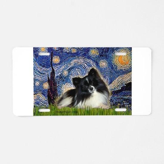 Starry Night / Pomeranian (b&w) Aluminum License P