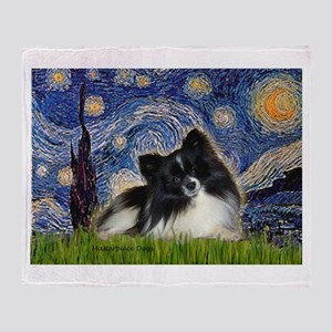 Starry Night / Pomeranian (b&w) Throw Blanket