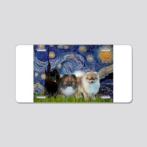 Starry/3 Pomeranians Aluminum License Plate